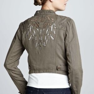 Free People Jacket Size 0 Green Moto Line